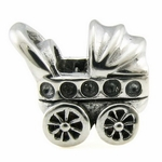 Silver Ohm Baby Carriage Bead