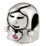 Silver Ohm Cute Little Girl Bead