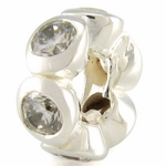 Silver Ohm CZ Ring Bead