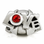 Silver Ohm Love Letter Red Bead