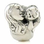 Silver Ohm Love Mother Embraces Child Bead