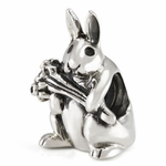 Silver Ohm Natural Easter Bunny Bead
