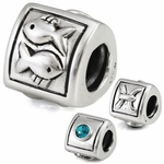 Silver Ohm Pisces Bead