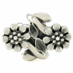 Silver Ohm Twin Flower Bead