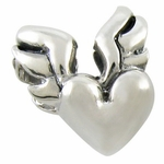 Silver Ohm Winged Heart Bead