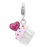 Silver Pink Enamel 3-D Cupcake and Heart Charm