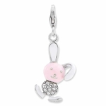 Silver Pink Enameled 3-D Bunny� Charm