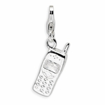 Silver Polished Cell Phone Charm