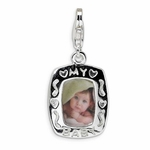 Silver Polished My Baby Frame Charm