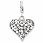 Silver Red Enamel and Crystal 3-D Heart� Charm