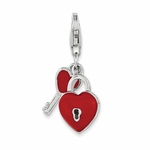 Silver Red Enamel Heart and Key Charm