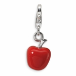 Silver Red Enameled Apple Charm