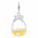 Silver Yellow Enamel 3-D Flower Basket and Bow Charm