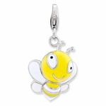 Silver Yelow Black Enameled 3-D Bumble Bee� Charm