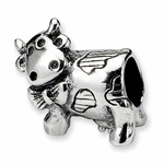 SimStars Kids Reflections Silver Cow w/ Bow Bead