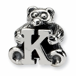 SimStars Kids Reflections Silver Letter K Bead