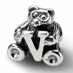 SimStars Kids Reflections Silver Letter V Bead