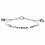 SimStars Purple Swarovski Elements Adjustable Bracelet