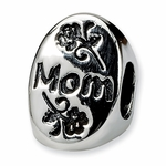 SimStars Reflections Silver #1 Mom Trilogy Oval Bead