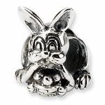 SimStars Reflections Silver Bunny with Basket Bead
