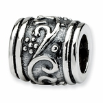 SimStars Reflections Silver Floral Bali Bead
