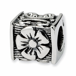 SimStars Reflections Silver Floral Cube Bead