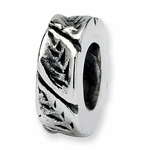 SimStars Reflections Silver Leaf Design Spacer Bead
