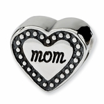SimStars Reflections Silver Mom Heart Bead