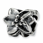 SimStars Reflections Silver Plumeria Floral Bead