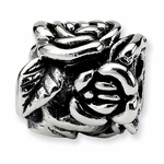 SimStars Reflections Silver Rose Floral Bead