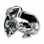 SimStars Reflections Silver Stork Bead
