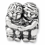 SimStars Reflections Silver Two Kids Bead