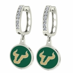 South Florida Bulls Enamel Large CZ Hoop Earrings