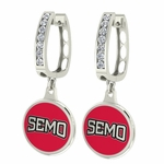 Southeast Missouri Redhawks Enamel Large CZ Hoop Earrings