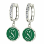 Southeastern Louisiana Lions Enamel Large CZ Hoop Earrings