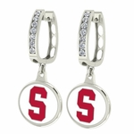 Stanford Cardinals Enamel Large CZ Hoop Earrings
