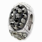 Sterling Silver Black Crystal Graduated Square Bead