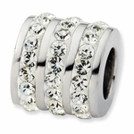Sterling Silver Clear Crystal Three Row Bead