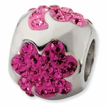 Sterling Silver Crystal Pink Flower Bead