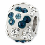 Sterling Silver Grayish Blue Crystal Floral Bead