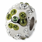 Sterling Silver Green Crystal Floral Bead