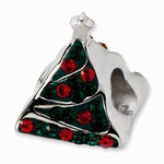 Sterling Silver Green & Red Crystal Christmas Tree Bead