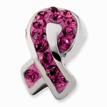 Sterling Silver Pink Breast Cancer Awareness Crystal Bead