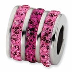 Sterling Silver Pink Crystal Three Row Bead