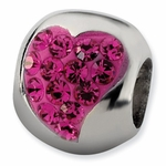 Sterling Silver Pink Heart Crystal Bead