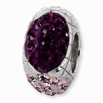 Sterling Silver Purple Crystal Graduated Square Bead