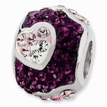 Sterling Silver Purple Crystal with Pink Hearts Bead