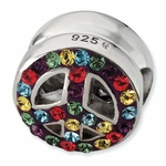 Sterling Silver Rainbow Crystal Peace Sign Bead