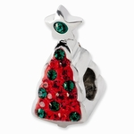 Sterling Silver Red and Green Christmas Tree Crystal Bead