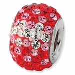 Sterling Silver Red Graudated Crystal Bead